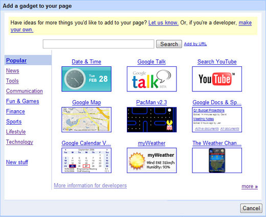 Google-Page-Creator Gadgets